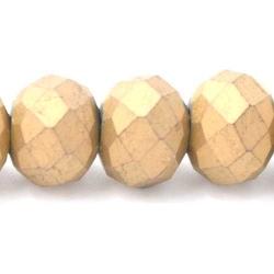 Facet kraal donut mat goud 6x8mm (streng)